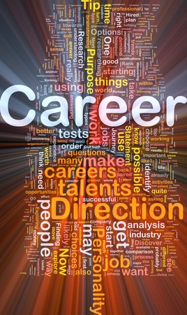 career choices: Background concept wordcloud illustration of career glowing light Stock Photo