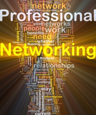Background concept wordcloud illustration of professional networking glowing light Stock Illustration - 9464730