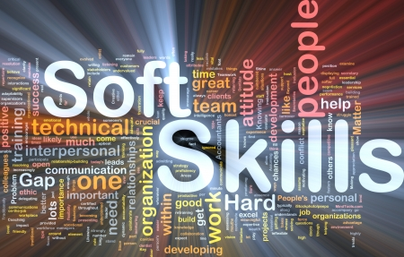 Background concept wordcloud illustration of soft skills glowing light illustration