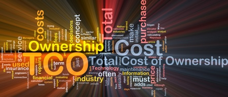 ownership: Background concept wordcloud illustration of total cost of ownership glowing light