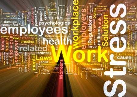 Background concept wordcloud illustration of work stress glowing light Stock Illustration - 9464733