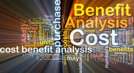 benefits: Background concept wordcloud illustration of cost benefit analysis glowing light Stock Photo