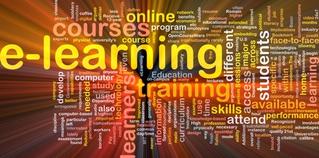 attend: Background concept wordcloud illustration of e-learning glowing light