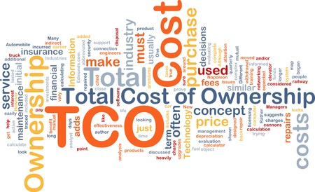 total: Background concept wordcloud illustration of total cost of ownership