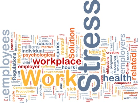compensation: Background concept wordcloud illustration of work stress Stock Photo