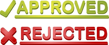 permit: Accepted rejected approval process icon illustration set