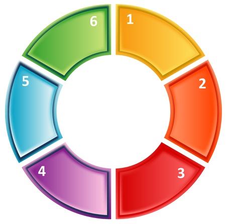 zes lege genummerde cyclus proces zakelijke diagram illustratie