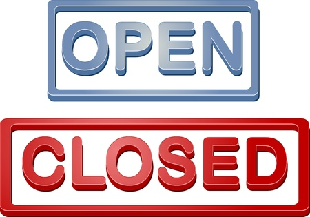 informative: Retail shop open closed store sign illustration icon Stock Photo