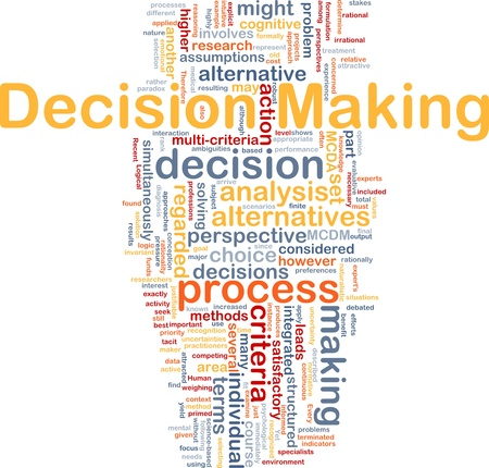 decision  making: Ilustraci�n de wordcloud concepto de fondo de toma de decisiones Foto de archivo