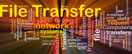 ftp servers: Background concept wordcloud illustration of file transfer glowing light