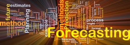 outcomes: Background concept wordcloud illustration of forecasting glowing light
