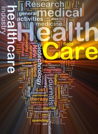 Background concept wordcloud illustration of health care glowing light Stock Illustration - 9504363