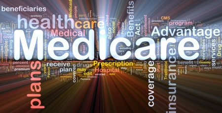 benefits: Background concept wordcloud illustration of medicare glowing light