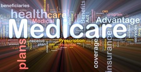 disability insurance: Sfondo concetto illustrazione wordcloud di luce incandescente medicare Archivio Fotografico