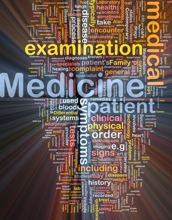 Background concept wordcloud illustration of medicine glowing light Stock Illustration - 9504366