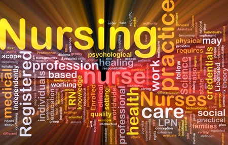 credentials: Background concept wordcloud illustration of nursing glowing light