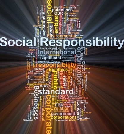 outcry: Background concept wordcloud illustration of social responsibility glowing light