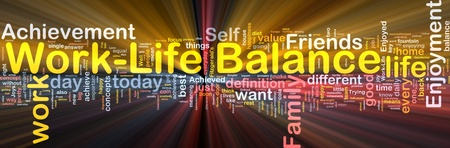 balance life: Background concept wordcloud illustration of work-life balance glowing light