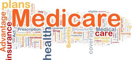 disability insurance: Illustrazione di wordcloud sfondo concetto di medicare Archivio Fotografico