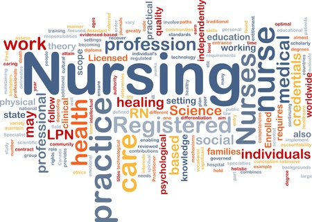 practise: Background concept wordcloud illustration of nursing Stock Photo