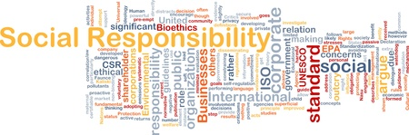 socially: Background concept wordcloud illustration of social responsibility Stock Photo