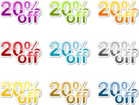 markdown: Twenty percent off sales reduction marketing announcement sticker