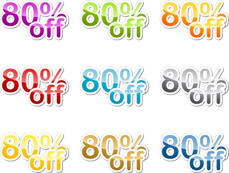 eighty: Eighty percent off sales reduction marketing announcement sticker Stock Photo