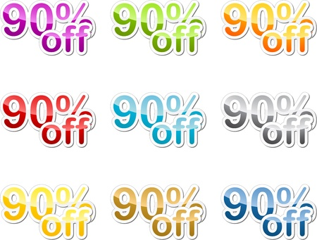 ninety: Ninety percent off sales reduction marketing announcement sticker Stock Photo