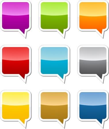 Multicolored  speech bubble sticker icon illustration set illustration