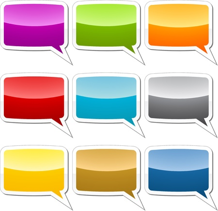 Multicolored  speech bubble sticker icon illustration set Stock Illustration - 9504370