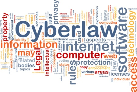 information technology law: Background concept wordcloud illustration of cyberlaw Stock Photo