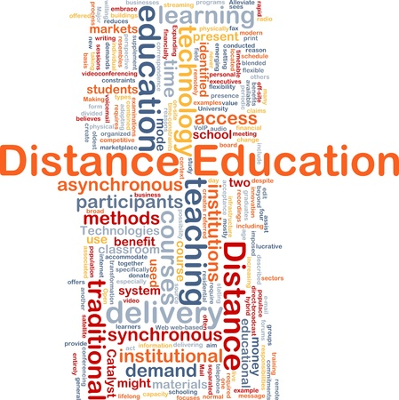 distance: Background concept wordcloud illustration of distance education