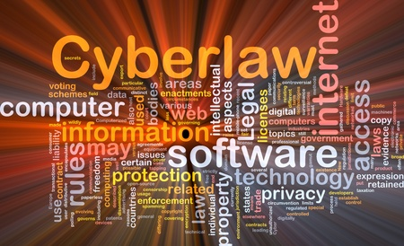 strictly: Background concept wordcloud illustration of cyberlaw glowing light Stock Photo