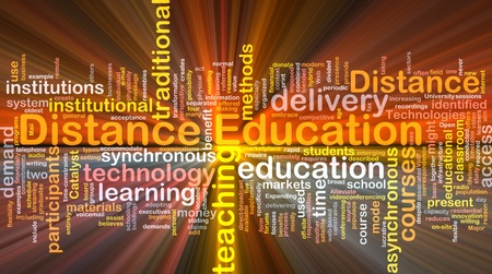 in distance: Background concept wordcloud illustration of distance education glowing light