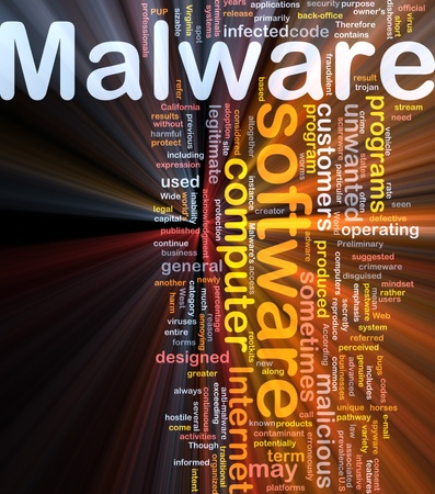 Background concept wordcloud illustration of malware glowing light Stock Illustration - 9504383