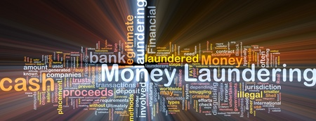 laundering: Background concept wordcloud illustration of money laundering glowing light Stock Photo