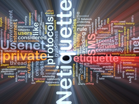 Background concept wordcloud illustration of netiquette glowing light Standard-Bild