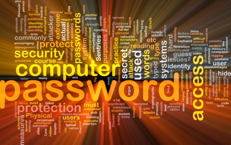 password security: Background concept wordcloud illustration of password glowing light