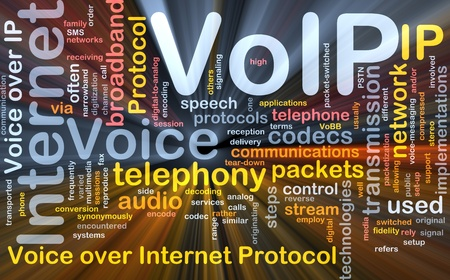 telephony: Background concept wordcloud illustration of VoIP glowing light Stock Photo
