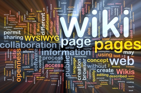wiki: Background concept wordcloud illustration of wiki pages glowing light Stock Photo