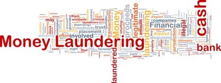 money laundering: Sfondo concetto illustrazione wordcloud di riciclaggio di denaro