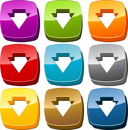 downwards: Down downwards navigation icon button multicolored illustration set
