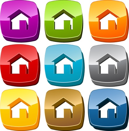 home icon: Home start navigation icon button multicolored illustration set