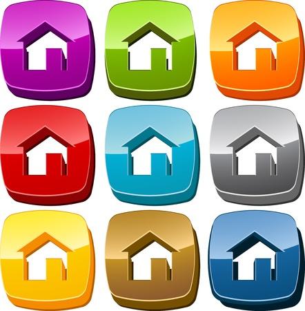 home button: Home start navigation icon button multicolored illustration set