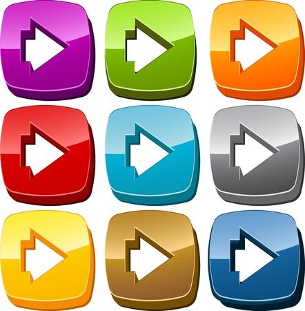 forward icon: Right forward navigation icon button multicolored illustration set