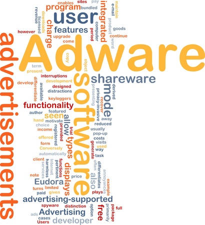 spyware: Background concept wordcloud illustration of adware
