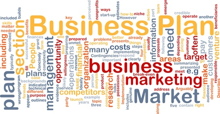 Background concept wordcloud illustration of business plan illustration