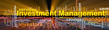 Background concept wordcloud illustration of investment management glowing light Stock Illustration - 9504004
