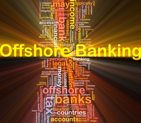 Background concept wordcloud illustration of offshore banking glowing light Stock Illustration - 9504006