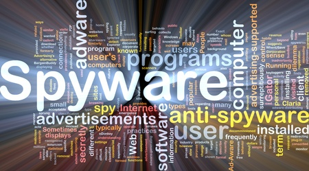 Background concept wordcloud illustration of spyware glowing light illustration